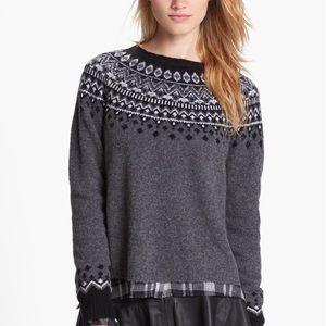 Joie Deedra Fair Isle Wool Sweater M L
